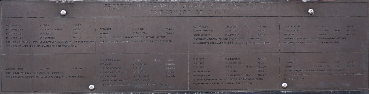 Memorial to Airmen killed on Cairnsmore
